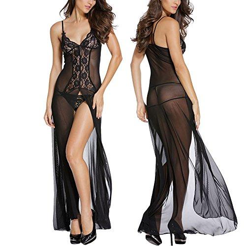 Chiffon Baby Doll Gown (BOOMLEMON Women's Long Gown Lingerie Lace Chiffon Babydoll Nightwear With Underwear Black)