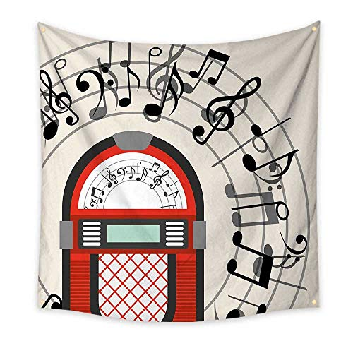 Jukebox Tapestry Cartoon Antique Old Vintage Radio Music Box Party with Notes Artwork Cool Tapestry Black White Grey and Red 32W x 32L Inch