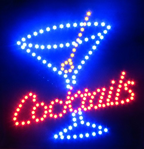 2xhome - Cocktails - High Visible Bright Big Chip Open Cocktail Martini Led Moving Flashing Animated Sign Colors Neon Business Motion Light Sign On Off Switch Button Chain 19x10 for Drink Food