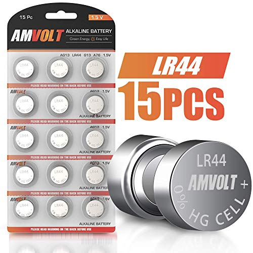 15 Pack LR44 AG13 A76 Battery - [Ultra Power] Premium Alkaline 1.5 Volt Non Rechargeable Round Button Cell Batteries for Watches Clocks Remotes Games Controllers Toys & Electronic Devices (15 Pack) ()