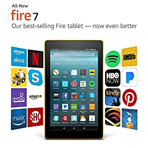 "All-New Fire 7 Tablet with Alexa, 7"" Display, 8 GB, Canary Yellow - with Special Offers"