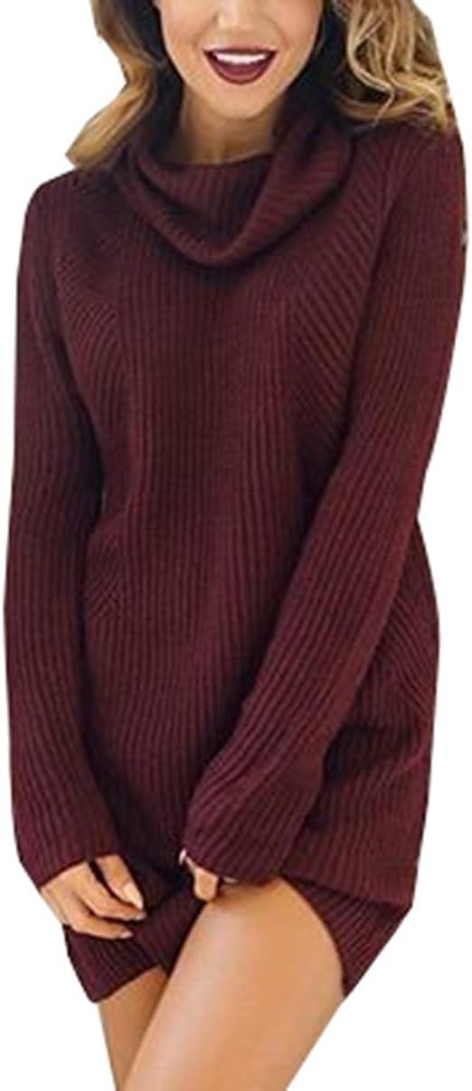 Damen Herbst Winter Pullover Strickkleid Langarm Warm Mode Lange Sweaterkleid B