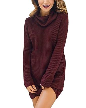 498f38b94b9 Damen Herbst Winter Pullover Kleid Strickpulli Langarm Lose Sweater Lang  Oberteile Jumper Pulli  Amazon.de  Bekleidung