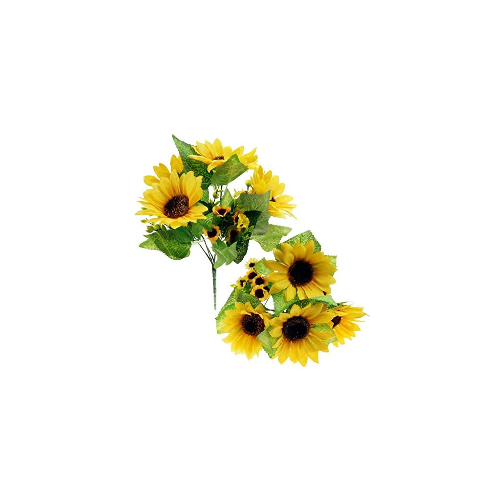 Bilipala Artificial Sunflower Flowers Bouquet For Home Decoration And Wedding Decor, 2 Bunches