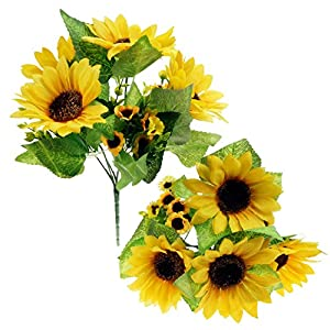 Bilipala Artificial Sunflower Flowers Bouquet For Home Decoration And Wedding Decor, 2 Bunches 55