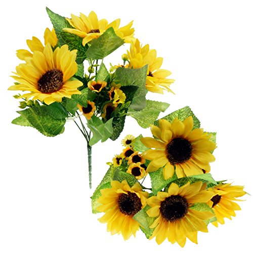 bilipala artificial sunflower flowers bouquet for home decoration and wedding decor 2 bunches - Silk Arrangements For Home Decor 2