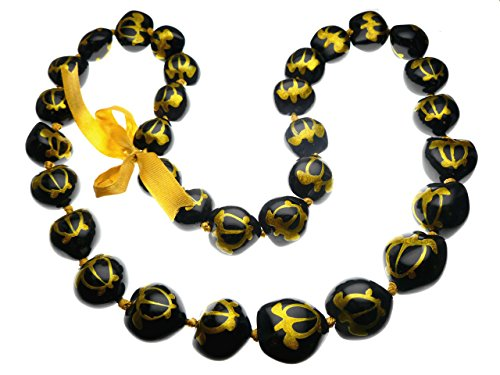 Aloha Passion Hawaiian Style Kukui Nut Lei, Hand Painted Gold Color Turtle 32 Inches ()