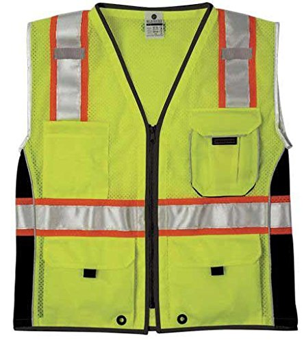 (ML Kishigo 1513 Ultra-Cool Polyester Black Series Heavy Duty Vest, Extra Large, Lime)