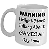 Game Developer Mug - Warning I Might Start Talking About All Day Long - Video Gaming Designer Coffee Tea Cup Gift Funny Cute Gag Gift Idea Development Design Dev Team Gamer Appreciation for Men Women