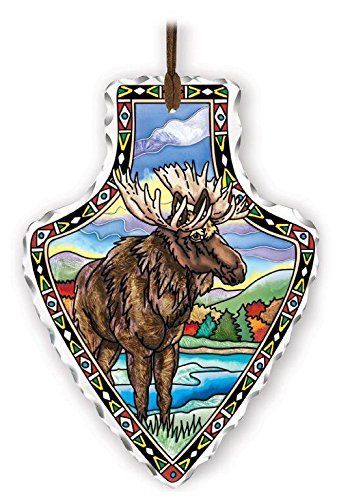 Hand Painted Moose - Amia 41832 Arrowhead Hand-Painted Glass Suncatcher, Moose Design, 5-1/2-Inch x 7-Inch