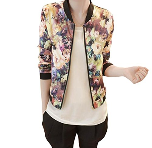 Clearance! HN Women Coat Grey Long Sleeve Zipper Floral Printed Bomber Jacket(M)