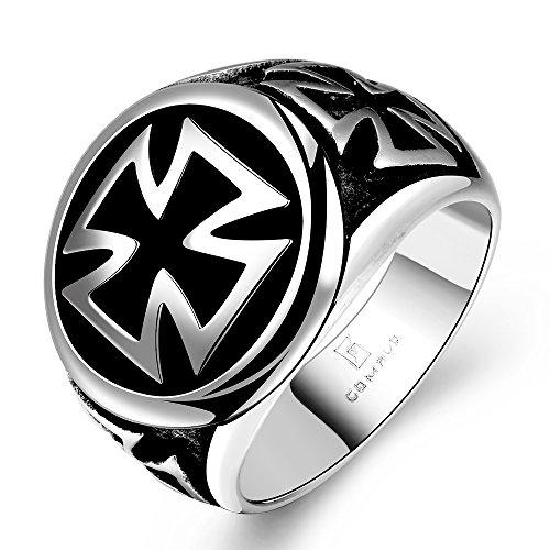 Stainless Steel Fashion Men's Rings Punk Retro Ring - 3