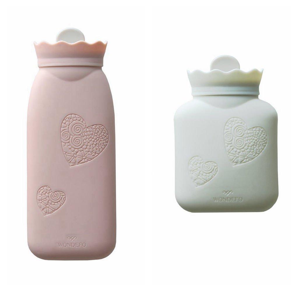 JORDAN&JUDY Fashion Environmental Silica Gel Hot-water Bag,Natural silica gel,Microwave the it(Big And Small 2 Pcs-Powder/White)
