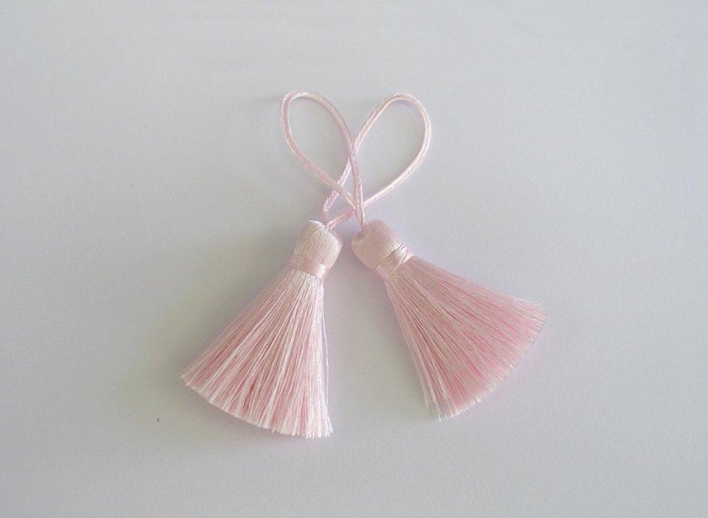 Brush Pink Tassel Silk Dangle Trim Fringe Bracelet Making Craft Scarf Sewing Embellishments Supply 2 Pieces DIYcraft