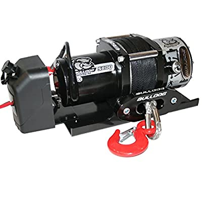 BULLDOG Winch 10030 Trailer Winch (5800lb Trailer with 50 Ft. Synthetic Rope, CNC Billet Aluminum Hawse Fairlead, Mounting Plate, Low Profile), 1 Pack