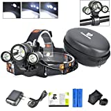Best LED Headlamp Flash Light – Waterproof Super Bright Head Flashlight & White Lights Adjustable for Camping Reading Hiking Running Fishing Hunting Cycling – Brightest Focused Work Lamp Headlight