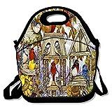 Insulated Neoprene Lunch Bag Thermal Carrying Gourmet Lunch Box Containers for Women Men Teen Girls Boys Kids - Birds Chickadee Cardinal Bluebird Painting