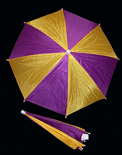 1 Piece Mardi Gras Umbrella Hat Cap Hands Free with Head Strap for Sun Rain