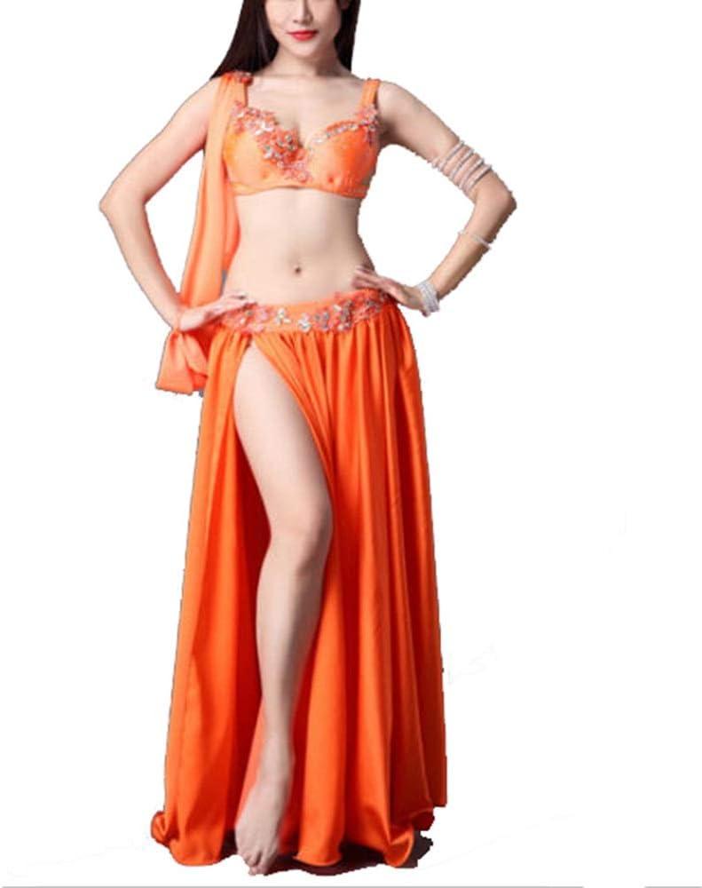ダンスドレス 女性のベリーダンスの衣装タッセルプロのベリーダンスブラジャーとベルトカーニバルダンススカートセクシーなスーツ ダンス衣装 (色 : オレンジ, サイズ : S) オレンジ Small