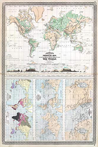 son Climate Map of The World w- Physical Map, Tidal Map, Races and Declination | 24 x 36in Fine Art Print | Antique Vintage Map ()