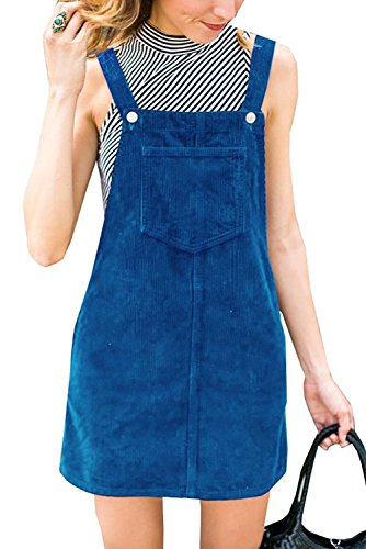 TinyChic Womens Pinafore Dress Corduroy Suspender Skirt Mini Bib Overall Dresses Blue S with -