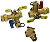 3/4 IPS LEAD FREE ISOLATOR EXP E2 w/LEAD FREE PRESSURE RELIEF VALVE TANKLESS WATER HEATER SERVICE VALVES - HOT & COLD SET - FULL PORT BRASS BALL VALVES w/ADJUSTABLE PACKING GLAND, HI-FLOW HOSE DRAINS (500 WOG) & PRESSURE RELIEF VALVE (150 PSI...