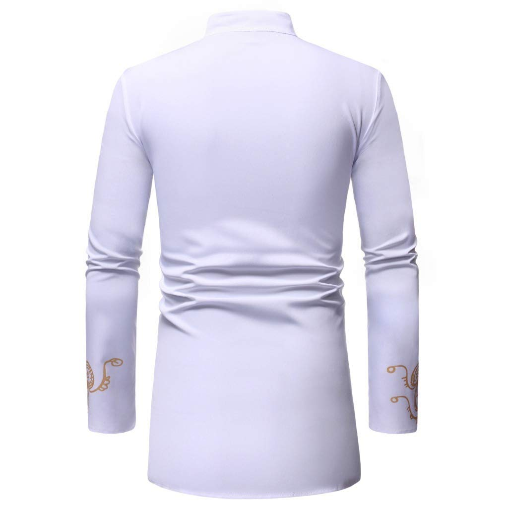 AngelSpace Mens Long Sleeve Fit Print Stand up Collar Shirts African Style Tees
