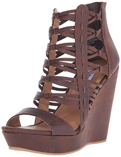 Not Rated Cecil de la mujer sandalias de cuña Dark Brown