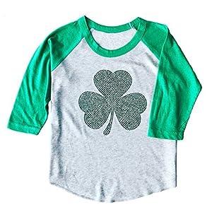 SoRock Toddler & Youth ST. Patricks Day Studded Irish Shamrock 3/4 Sleeve Raglan T-Shirt White & Green (4T)