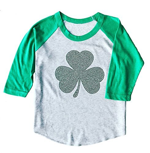 SoRock Toddler & Youth ST. Patricks Day Studded Irish Shamrock 3/4 Sleeve Raglan T-Shirt White & Green (Youth Medium)