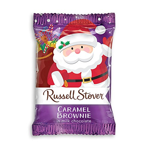 Russell Stover 1 oz. Milk Chocolate Caramel Brownie Santa, case of 36
