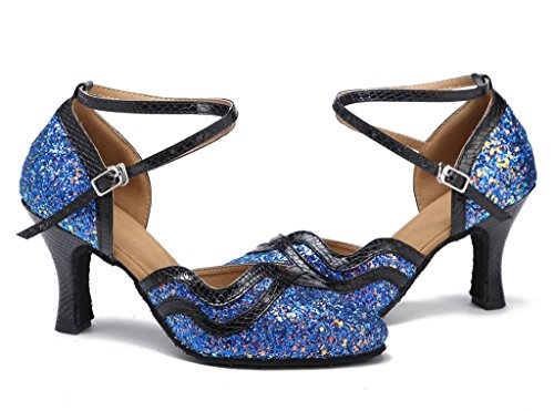 Latin Toe Dance Ballrom Shoes Dance Meijili Womens Modern Wedding Salsa Blue Evening Shoes Closed Tango Glitter Ixwq5vzq