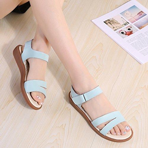 Y De Verano Zapatos Sandalias Fresco OME Una De En Palabra Blanda Tierra Zapatos Sandalias amp;QIUMEI Blue 4wxvqta