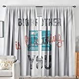 NUOMANAN Bedroom Curtains Vintage,Half Toned Big Brother Quote with Old-Fashion Analogue Camera Icon Book Web Print,Blue Grey,Insulating Room Darkening Blackout Drapes 84'x84'