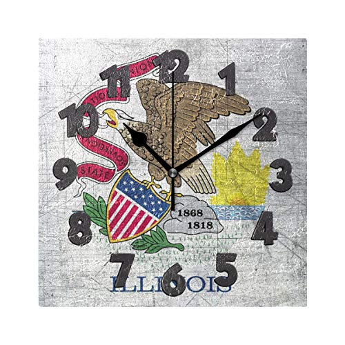 Nugier Illinois Flag Retro Vintage Old Style Square Wall Clock Silent Non Ticking Custom Acrylic Painted Easy to Read Non-Ticking Home Art Bedroom Living Dorm Room Decor 7.87