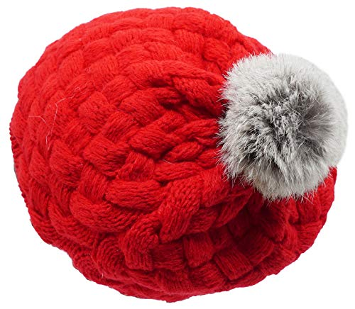 Baby Infatnt Winter Knitted Hat Pom Pom Beret Caps Red