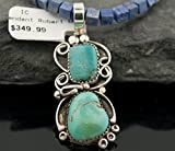 Handmade Authentic Made by Robert Little Navajo Silver Natural Turquoise and LAPIS Native American Necklace