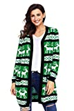 Product review for Foryingni Women's Christmas Reindeer Sweater Open Front Cardigan with Pockets