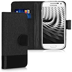ECENCE Funda para el Samsung Galaxy S4 Mini I9190 I9195 I9192 Duos Libro Cover Wallet Case-s Bolsa Negro 22020205