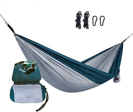 KAIXIN Hamaca de jardín con Bolsa de Transporte, Hamaca portátil, Ligera, cómoda y portátil para Patio, Camping, Playa, Patio, Viajes, Senderismo, Apto para 1-2 Personas, Azul: Amazon.es: Jardín