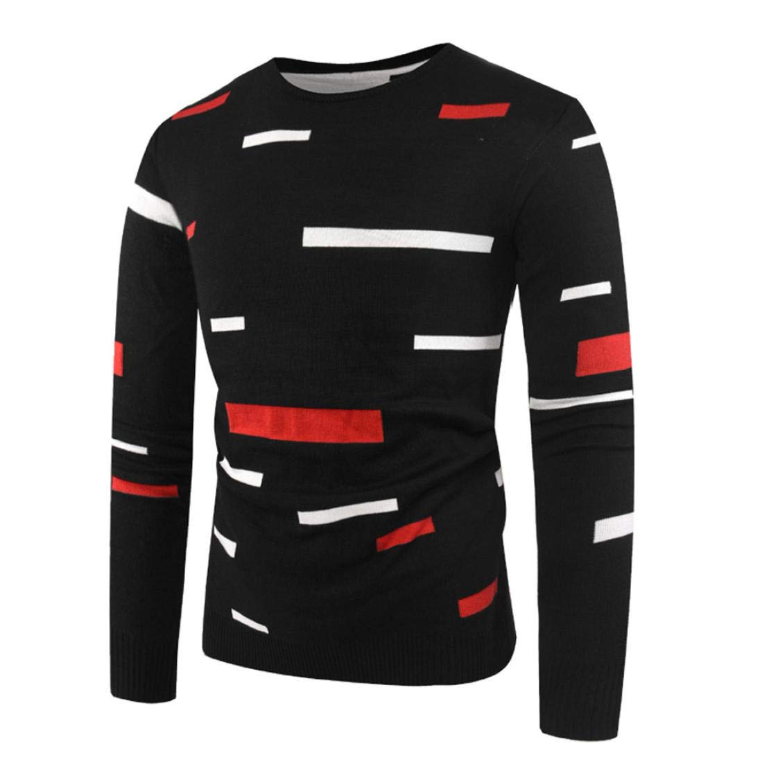 kaifongfu Sweater Tops,Men Printed Pullover Knitted Top Autumn Winter Outwear Blouse BlackXL