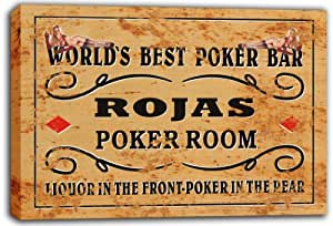 scqn1-1645 ROJAS Best Poker Room Bar Beer Stretched Canvas Print Sign