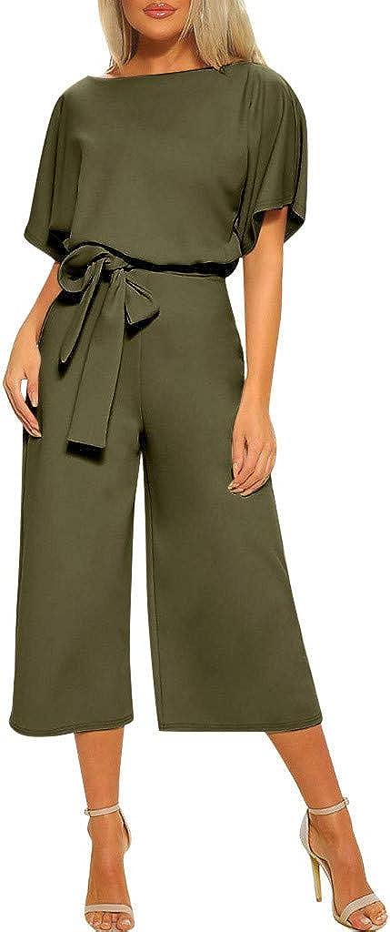 Summer Short Sleeve Jumpsuits for Women Back Keyhole Rompers Elegant Work Playsuits with Belt