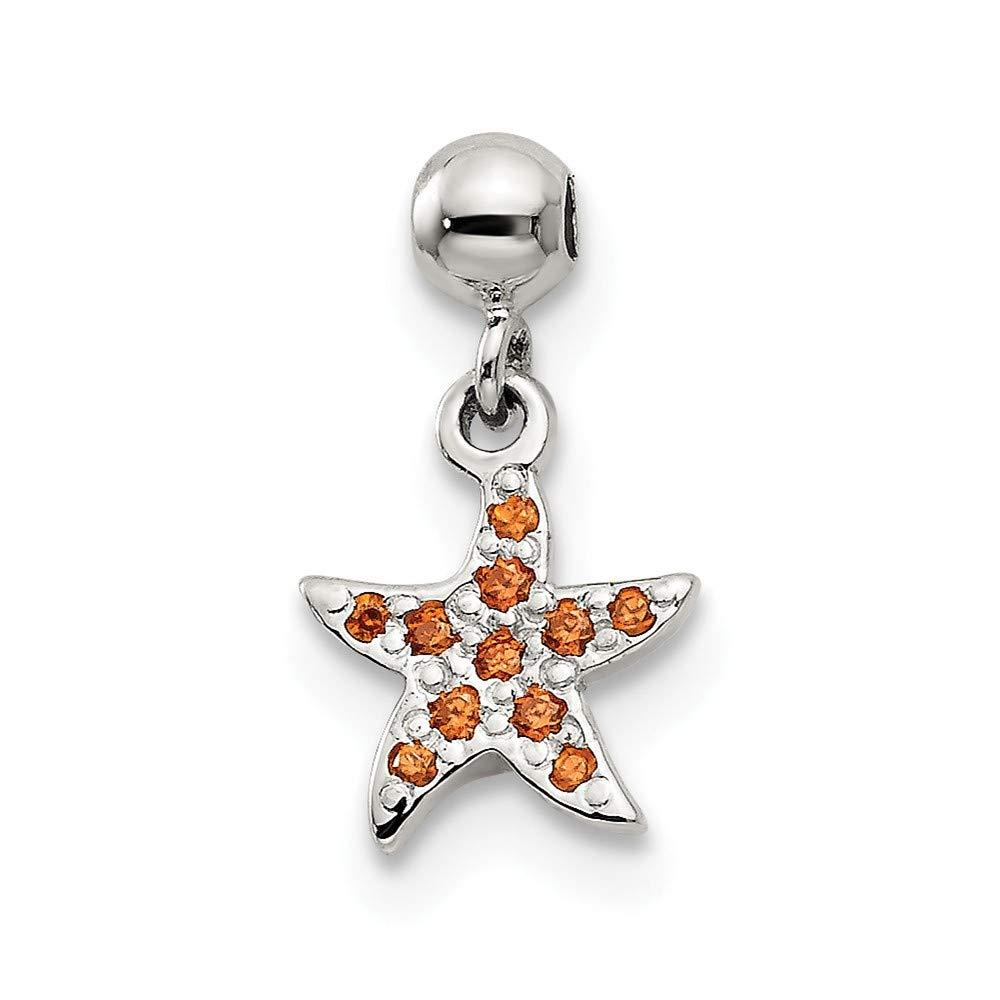 Jewels By Lux 925 Sterling Silver Mio Memento Orange Cubic Zirconia CZ Dangle Starfish Charm Pendant
