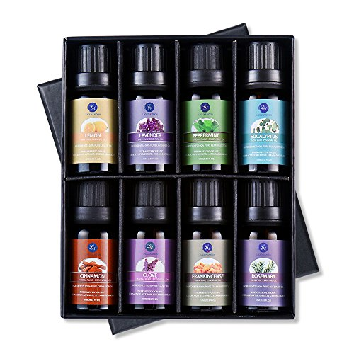 Lagunamoon Essential Oils Top 8 Gift Set Pure Essential Oils Gift Set for Diffuser, Humidifier, Massage, Aromatherapy, Skin & Hair (Skin Inhalation Therapy)