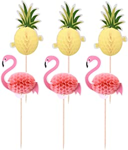 Amosfun Hawaii 3D Flamingo Pineapple Cake Toppers Tropical Party Cake Picks Cake Decoration for Summer Party 10 Pcs