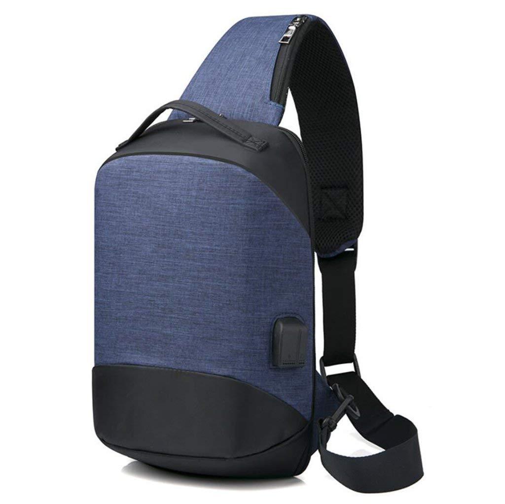 HEYJIE Men's Bag Multifunctional Breast Bag Men's Lady USB Charging Shoulder Bag Casual Sports Messenger Bag,Blue