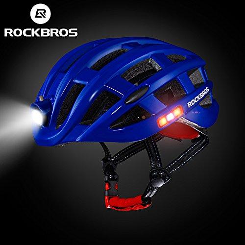 Casco con luz led integrada MTB, Ruta (azul)