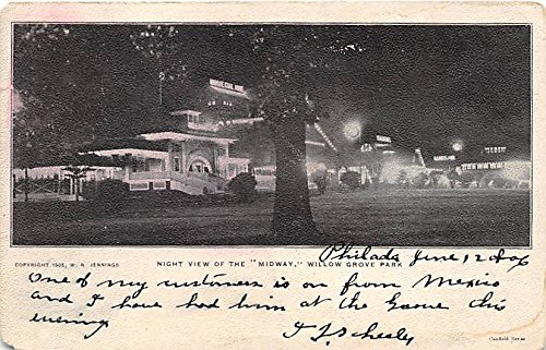 - Willow Grove Park, Pennsylvania, PA, USA Postcard Night View of Midway Postal Used Unknown, Missing Stamp