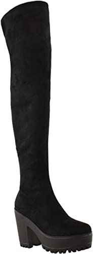 Women Knee High Boots Chunky Med Heel Lace Up Party Round Toe Comfy Shoes TXZ403